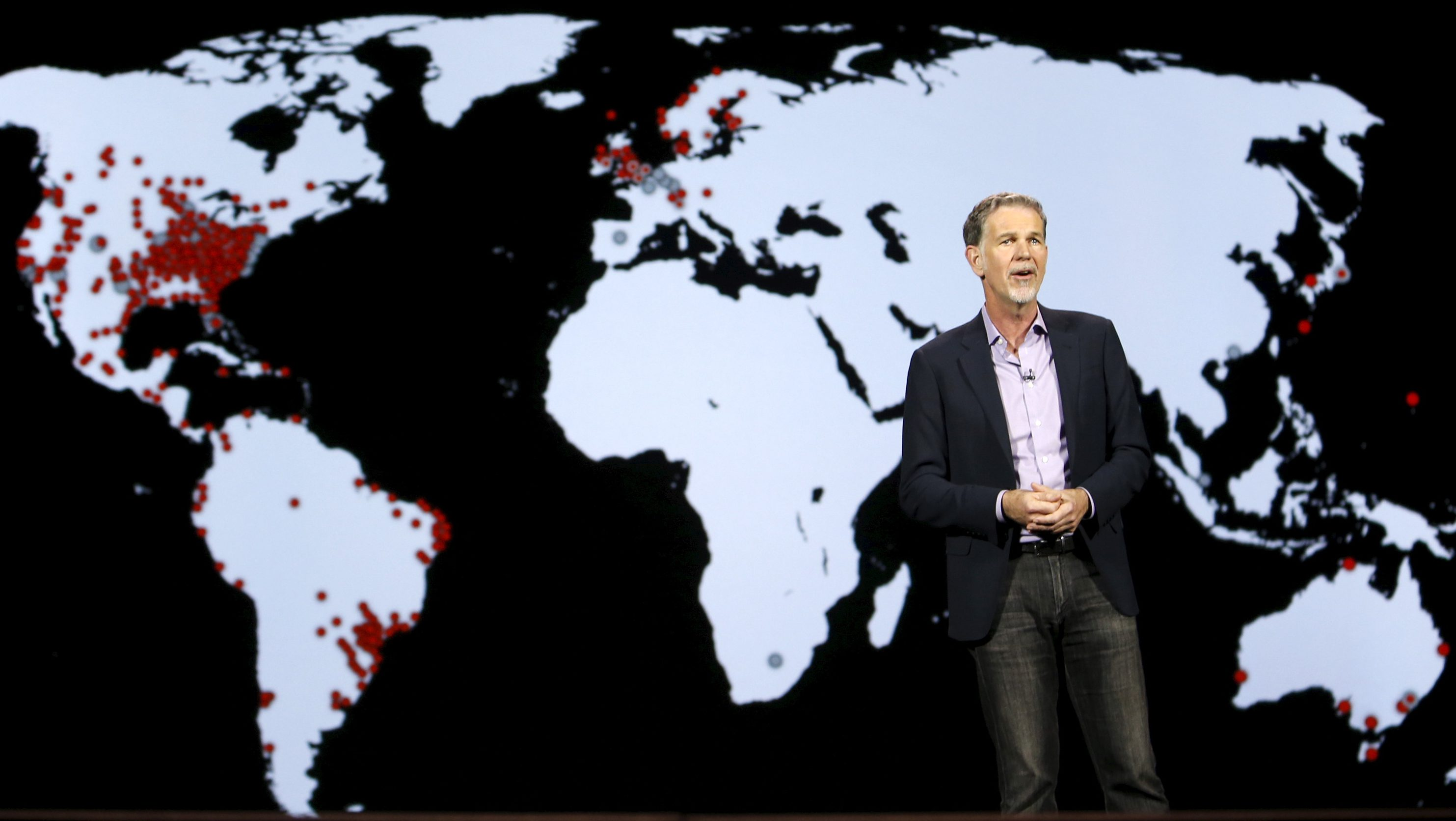 Reed Hastings, co-founder and CEO of Netflix, speaks during a keynote address at the 2016 CES trade show in Las Vegas, Nevada January 6, 2016.  REUTERS/Steve Marcus - GF10000284886