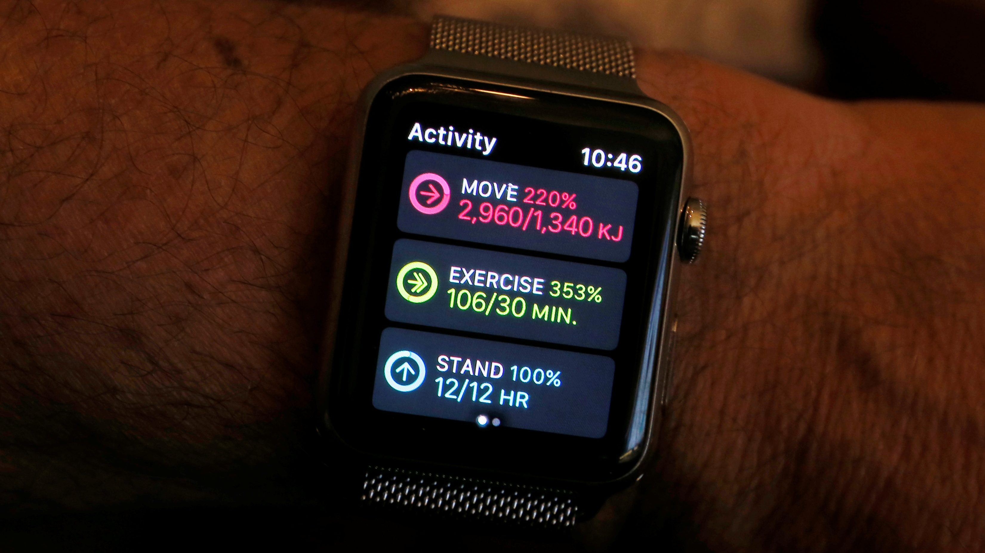 An Apple Watch activity app shows completed move, exercise and standing goals for the day in this illustration image taken in Sydney, Australia, September 21, 2017.  Picture taken September 21, 2017.   REUTERS/Jason Reed/Illustration - RC17110CD3A0
