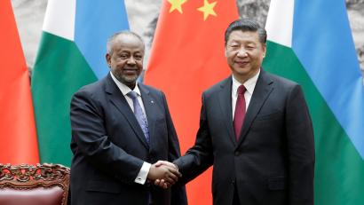 Chinese President Xi Jinping shakes hands with Djibouti's President Ismail Omar Guelleh during a signing ceremony at the Great Hall of the People in Beijing, China November 23, 2017.