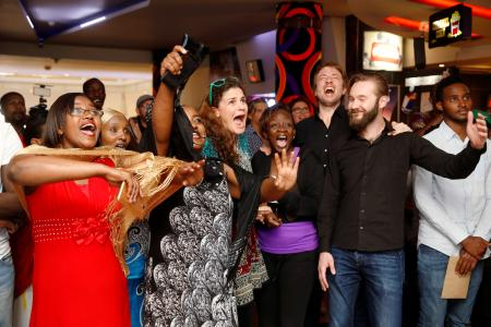 """The crew members of the film """"Watu Wote: All of us"""" the German and Kenyan joint production, react as their film received an Oscar nomination for the best Live Action Short Film category in Nairobi, Kenya."""