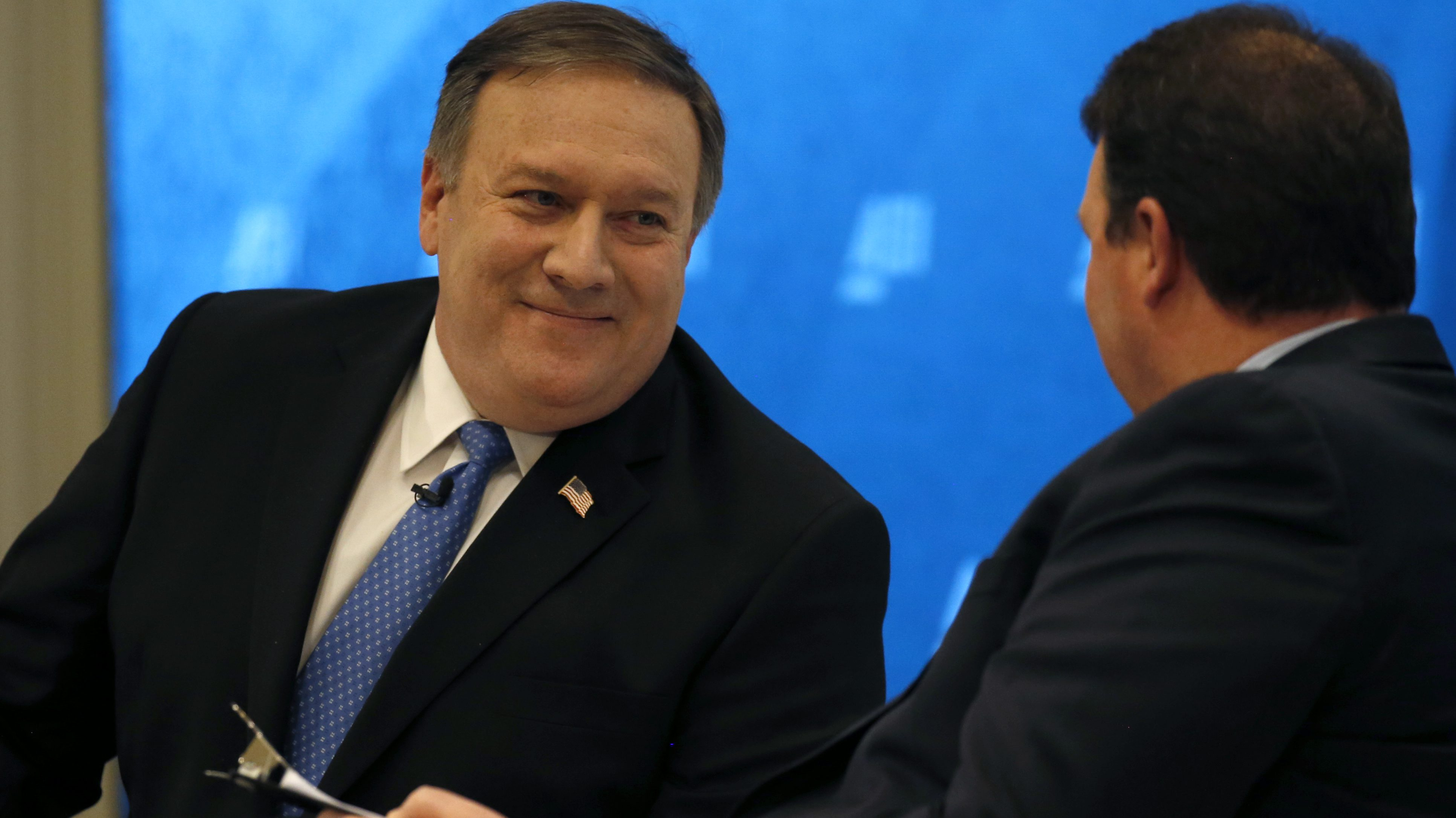 """CIA Director Mike Pompeo responds to interview questions from Marc A. Thiessen during """"Intelligence Beyond 2018,"""" a forum hosted by the American Enterprise Institute for Public Policy Research in Washington, U.S., January 23, 2018. REUTERS/Leah Millis - HP1EE1N1GZXOM"""