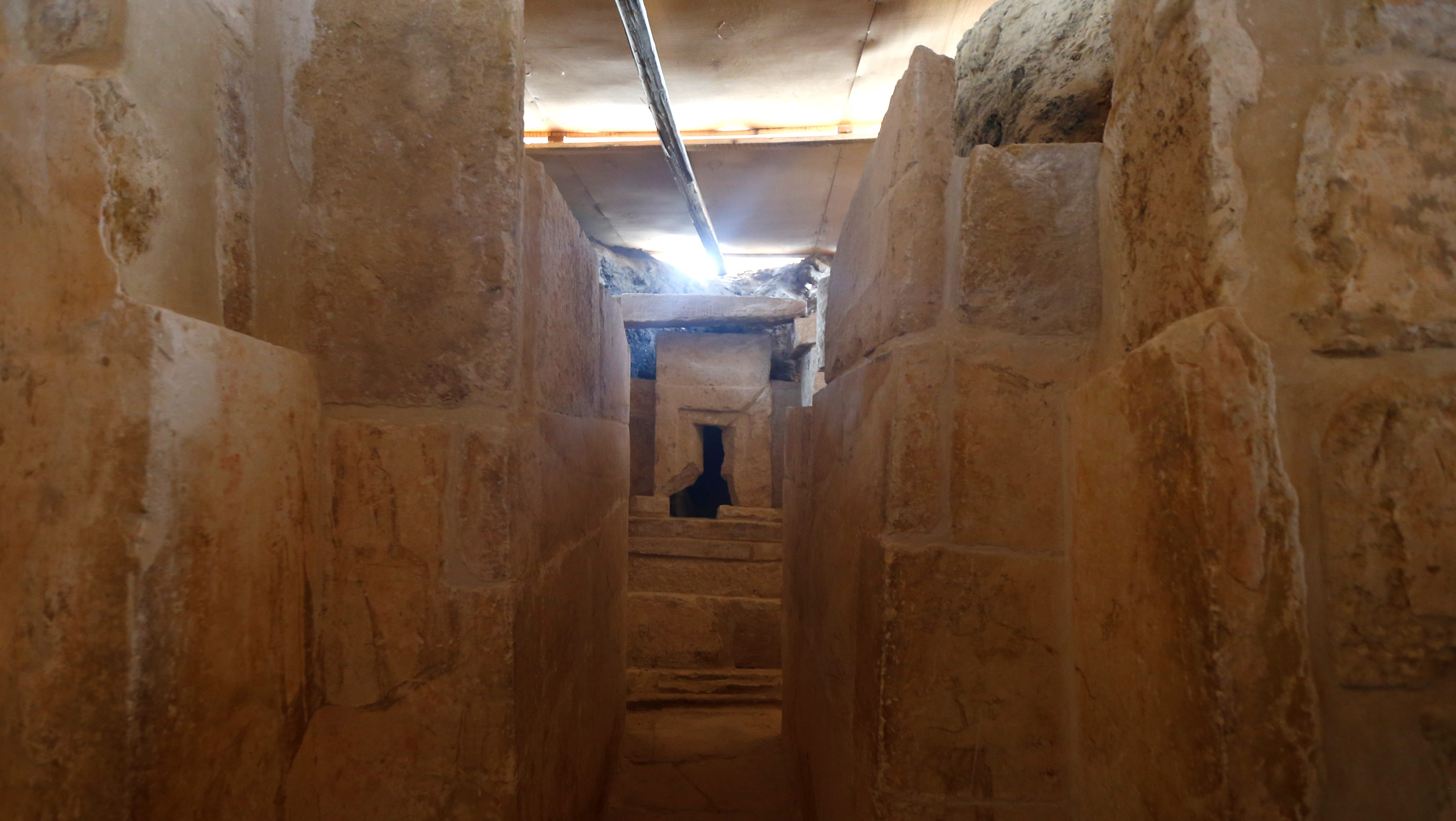 The discovery of an Old Kingdom tomb from Egypt's antiquities authorities is seen at the Giza plateau, the site of the three ancient pyramids on the outskirts of Cairo