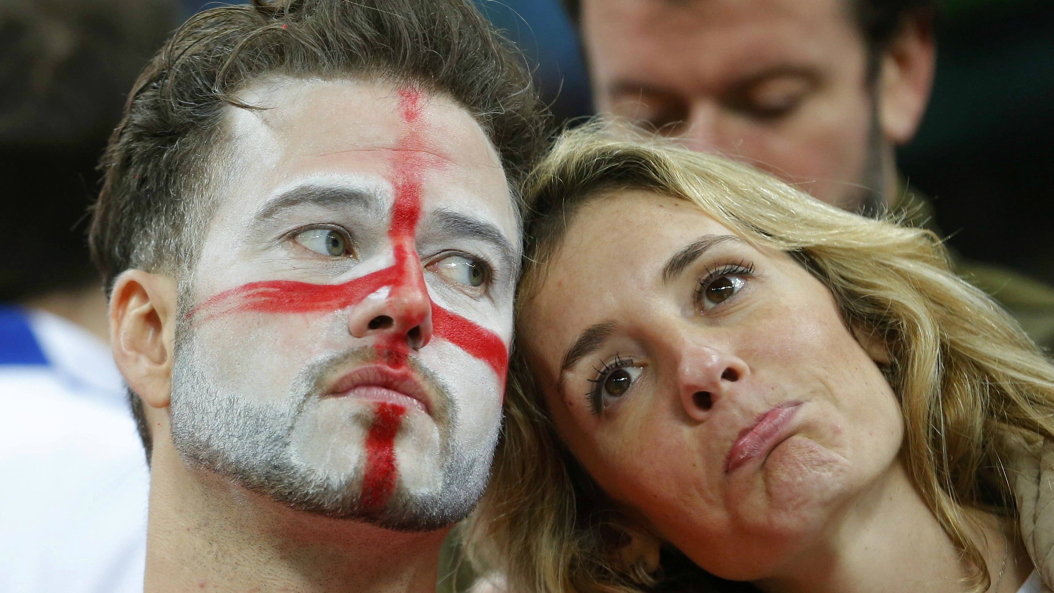 Two sad England fans at the World Cup