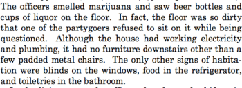 Screenshot from case describing party.