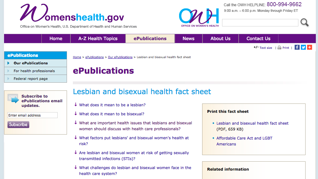 US removes lesbian and bisexual health page
