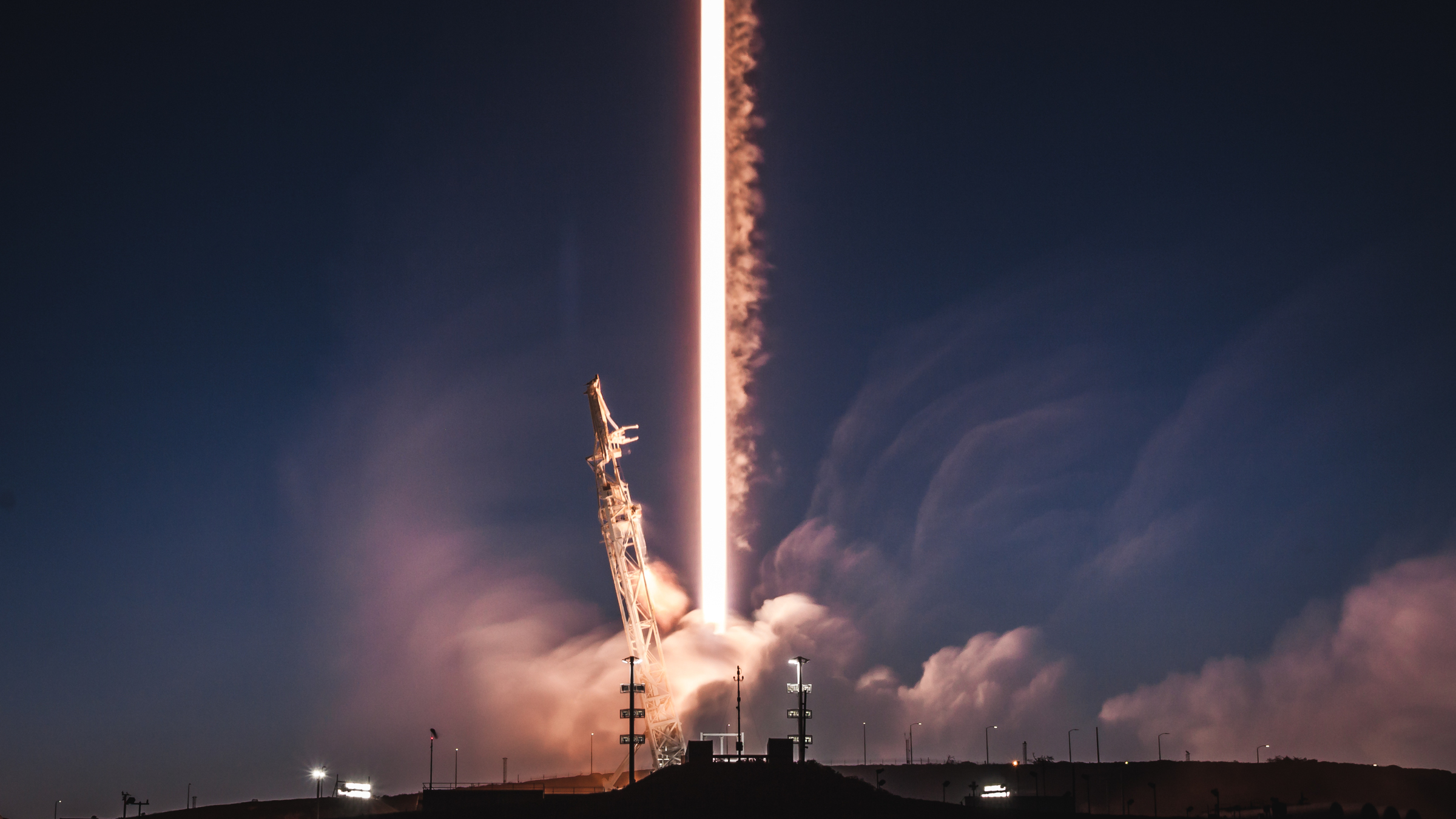 A SpaceX Falcon 9 rocket launches a satellite in 2018.