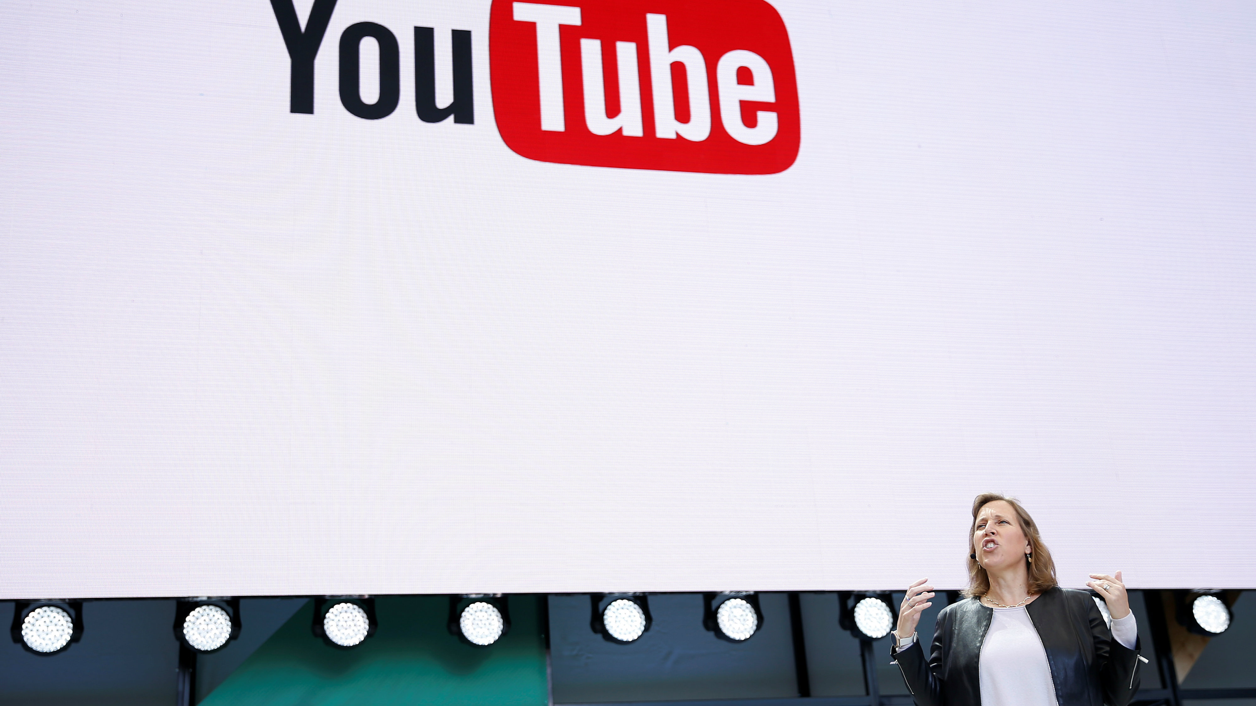 YouTube CEO Susan Wojcicki speaks on stage during the annual Google I/O developers conference in San Jose, California