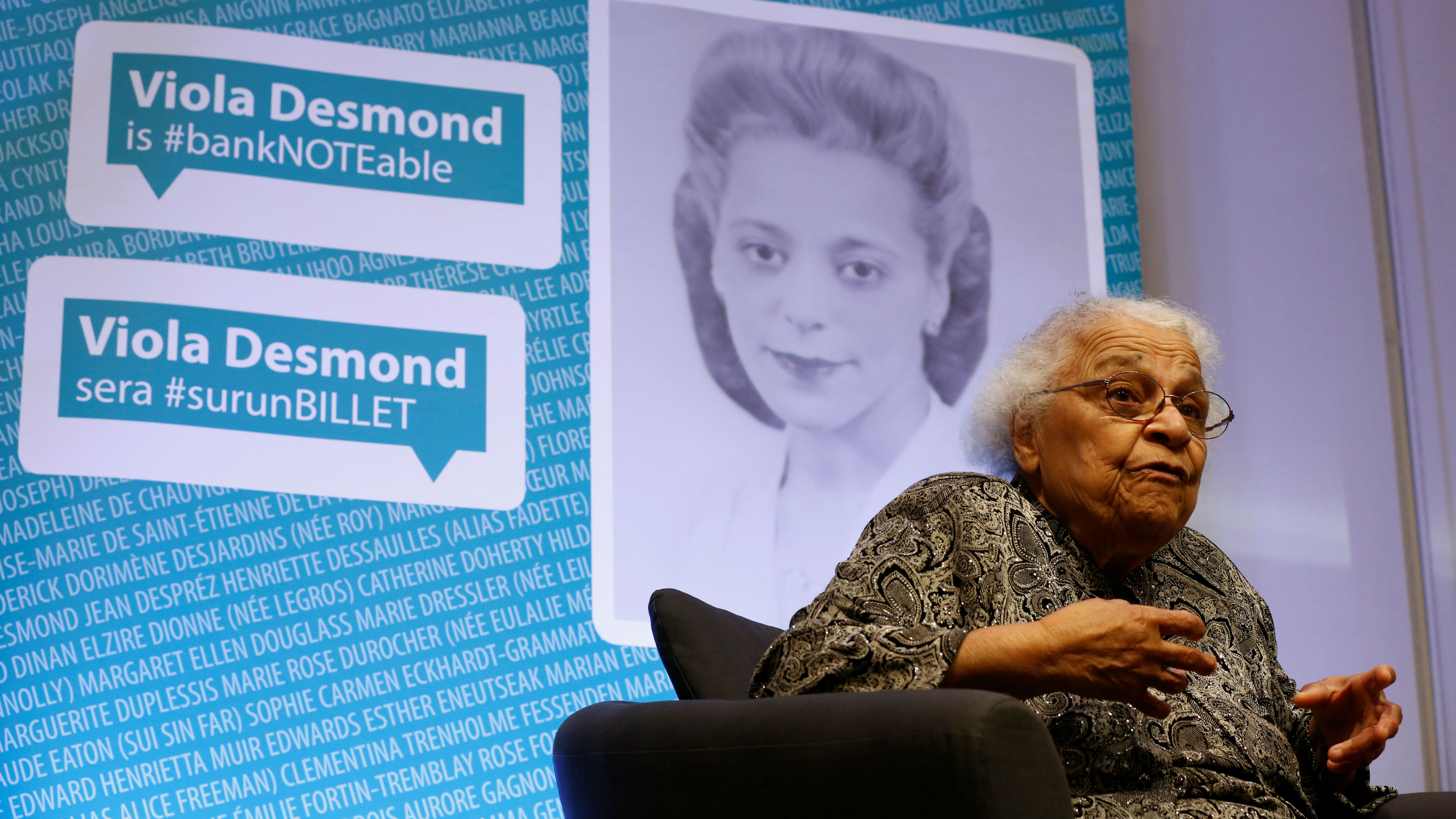 Wanda Robson takes part in an interview after her sister Viola Desmond was chosen to be featured on a new $10 bank note following a ceremony at the Museum of History in Gatineau, Quebec, Canada, December 8, 2016.