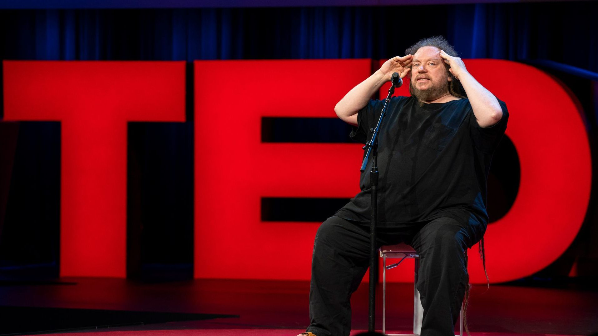 Jaron Lanier speaks at TED2018 - The Age of Amazement, April 10 - 14, 2018, Vancouver, BC, Canada. Photo: Bret Hartman / TED