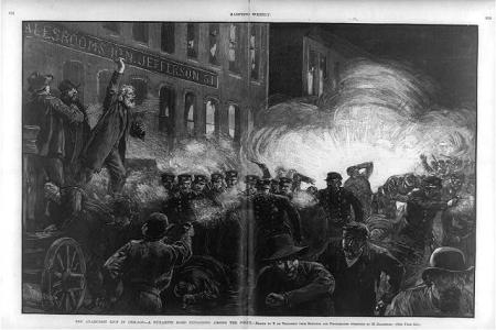 An illustration that appeared in Harper's Weekly on May 15, 1886 of the Haymarket Affair in Chicago.