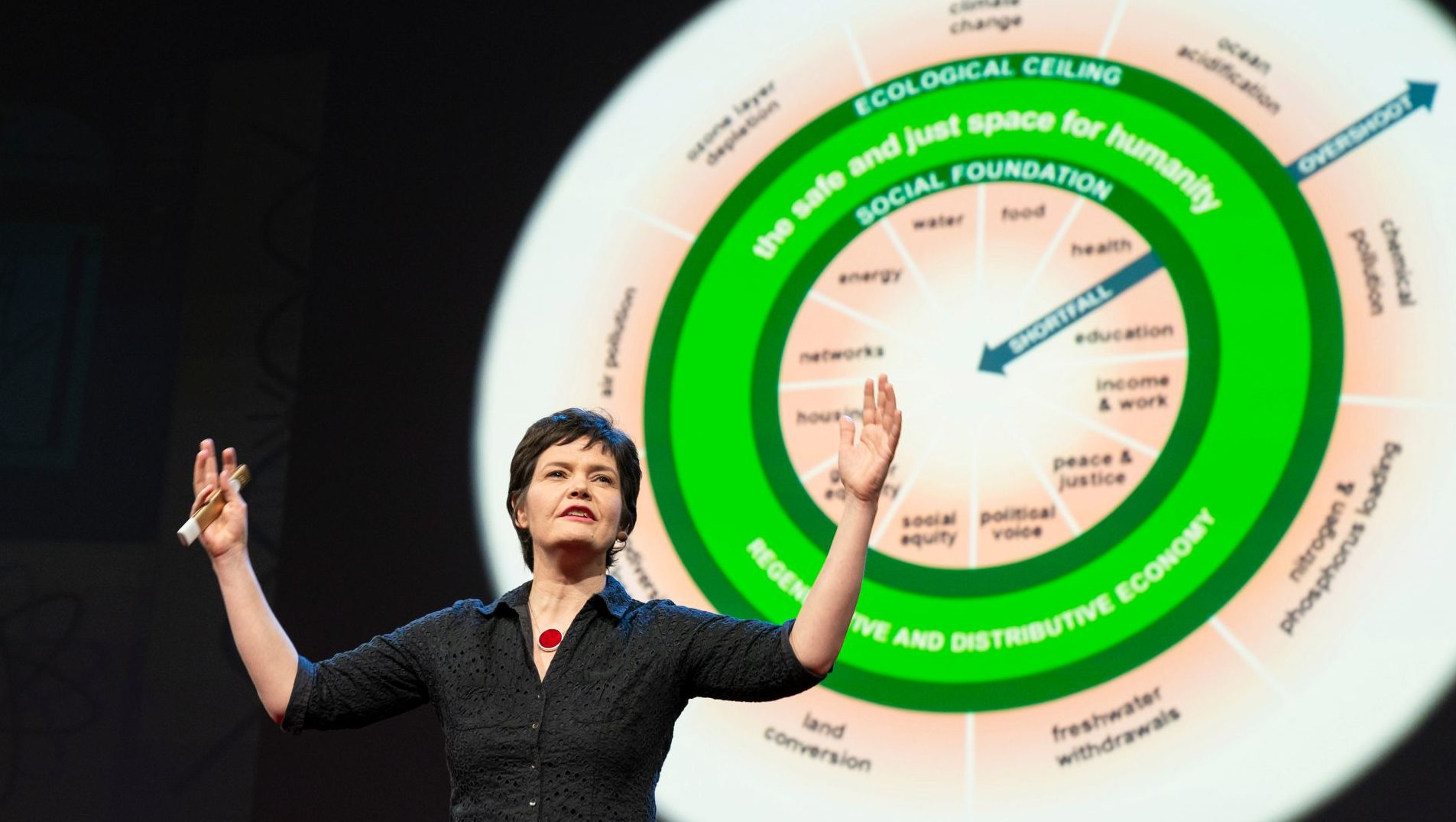 Kate Raworth speaks at TED2018 - The Age of Amazement, April 10 - 14, 2018, Vancouver, BC, Canada. Photo: Kate Raworth speaks at TED2018 - The Age of Amazement, April 10 - 14, 2018, Vancouver, BC, Canada. Photo: Bret Hartman / TED