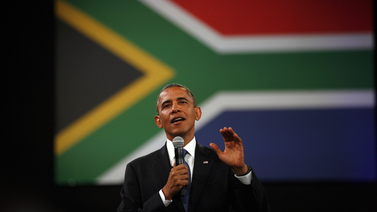 FILE - In this Saturday June 29, 2013 file photo, U.S. President Barack Obama delivers remarks and takes questions at a town hall meeting with young African leaders at the University of Johannesburg Soweto campus in South Africa. Africa was electrified by the rise of Barack Obama, the first U.S. president of African descent, who took aim at the twin scourges of corruption and dictatorship and sent thousands of troops to fight one of the most terrifying disease outbreaks in decades. (AP Photo/Jerome Delay, File)