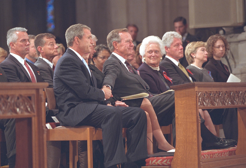 Barbara Bush with son George W. Bush