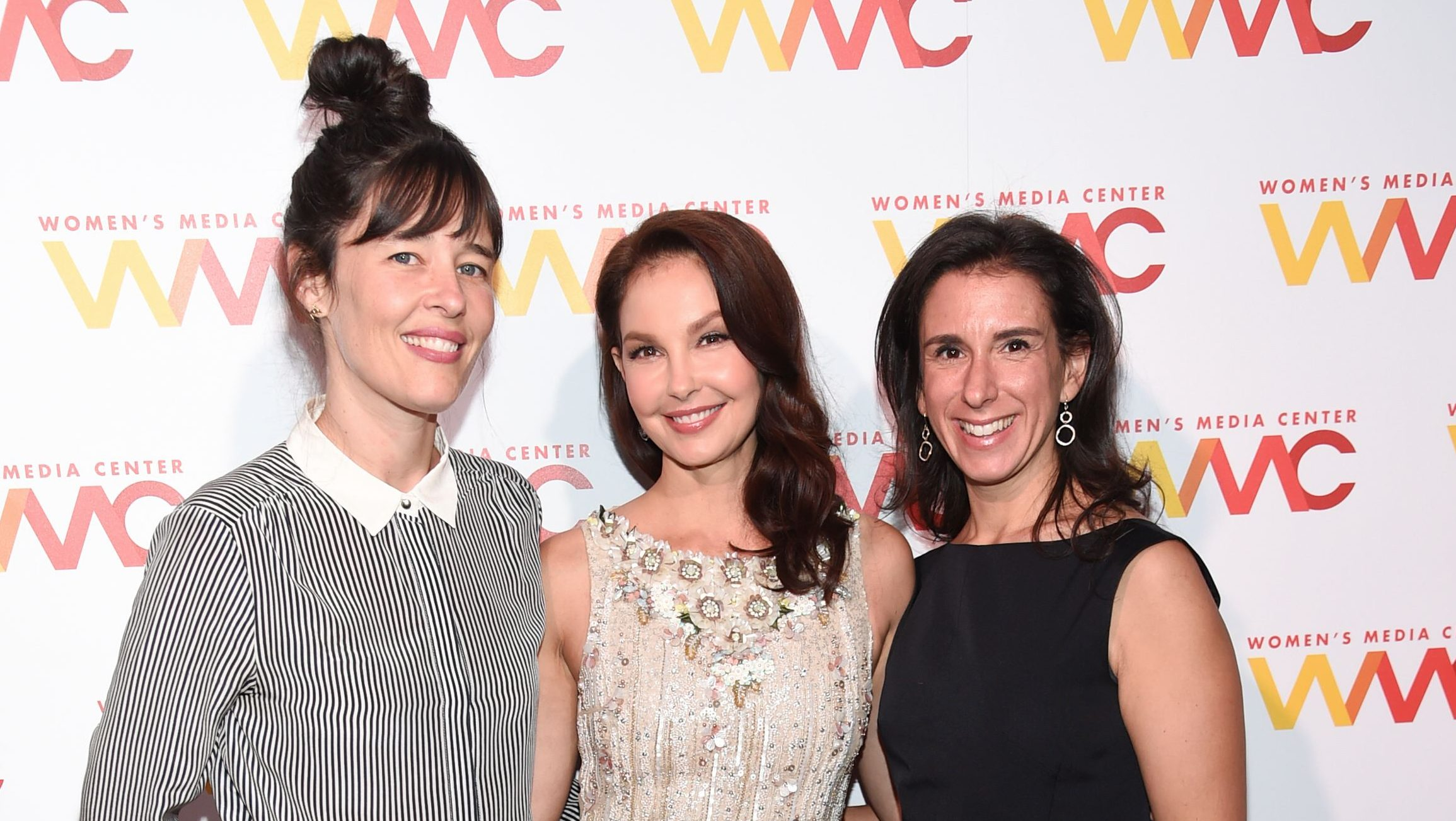 New York Times journalist Megan Twohey, left, actress Ashley Judd, and New York Times journalist Jodi Kantor attend The Women's Media Center 2017 Women's Media Awards at Capitale on Thursday, Oct. 26, 2017, in New York. (Photo by Evan Agostini/Invision/AP)