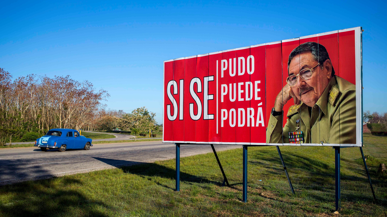 Cuba Transition billboard with Raul Castro