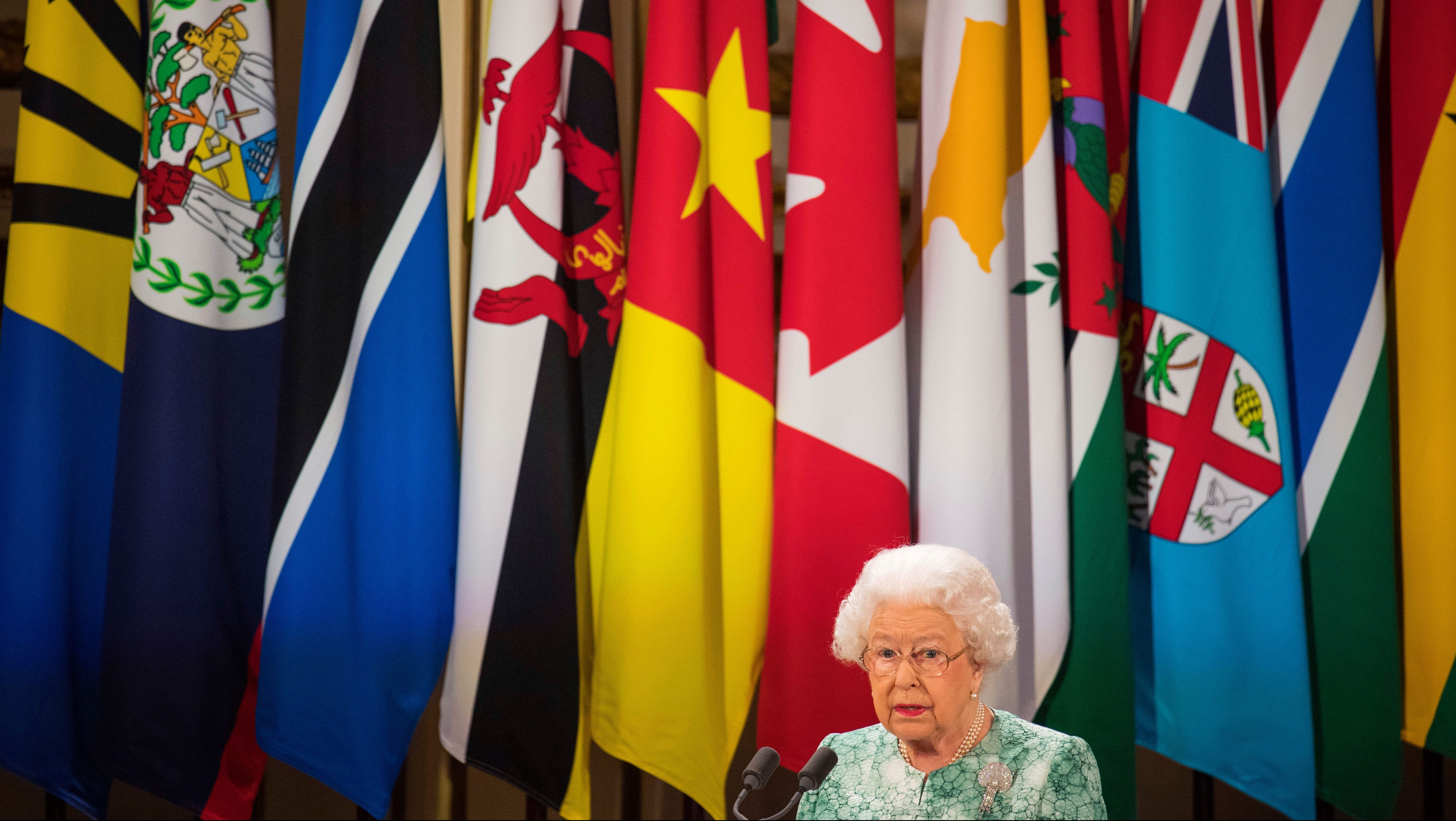 Britain's Queen Elizabeth II speaks during formal opening of the Commonwealth Heads of Government Meeting in the ballroom at Buckingham Palace in London, Thursday April 19, 2018.