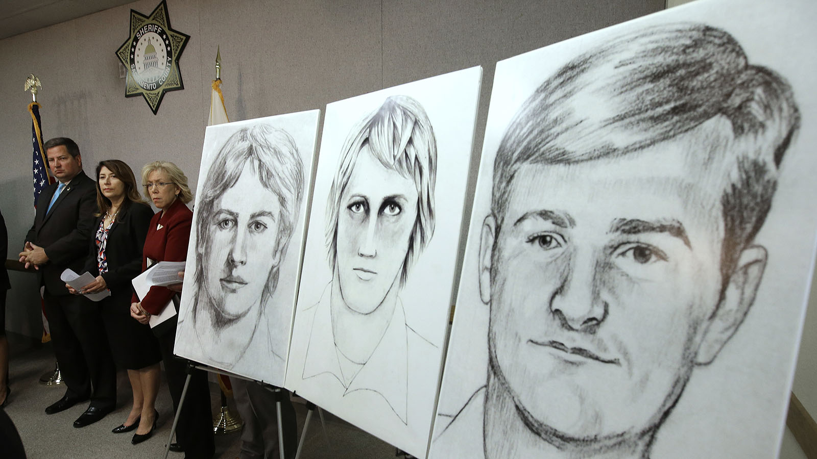 """FILE - In this June 15, 2016, file photo, law enforcement drawings of a suspected serial killer believed to have committed at least 12 murders across California in the 1970's and 1980's are displayed at a news conference about the investigation, in Sacramento, Calif. The Sacramento County District Attorney's Office plans to make a 'major announcement"""" Wednesday, April 25, 2018, in the case of the elusive serial killer. (AP Photo/Rich Pedroncelli, File)"""