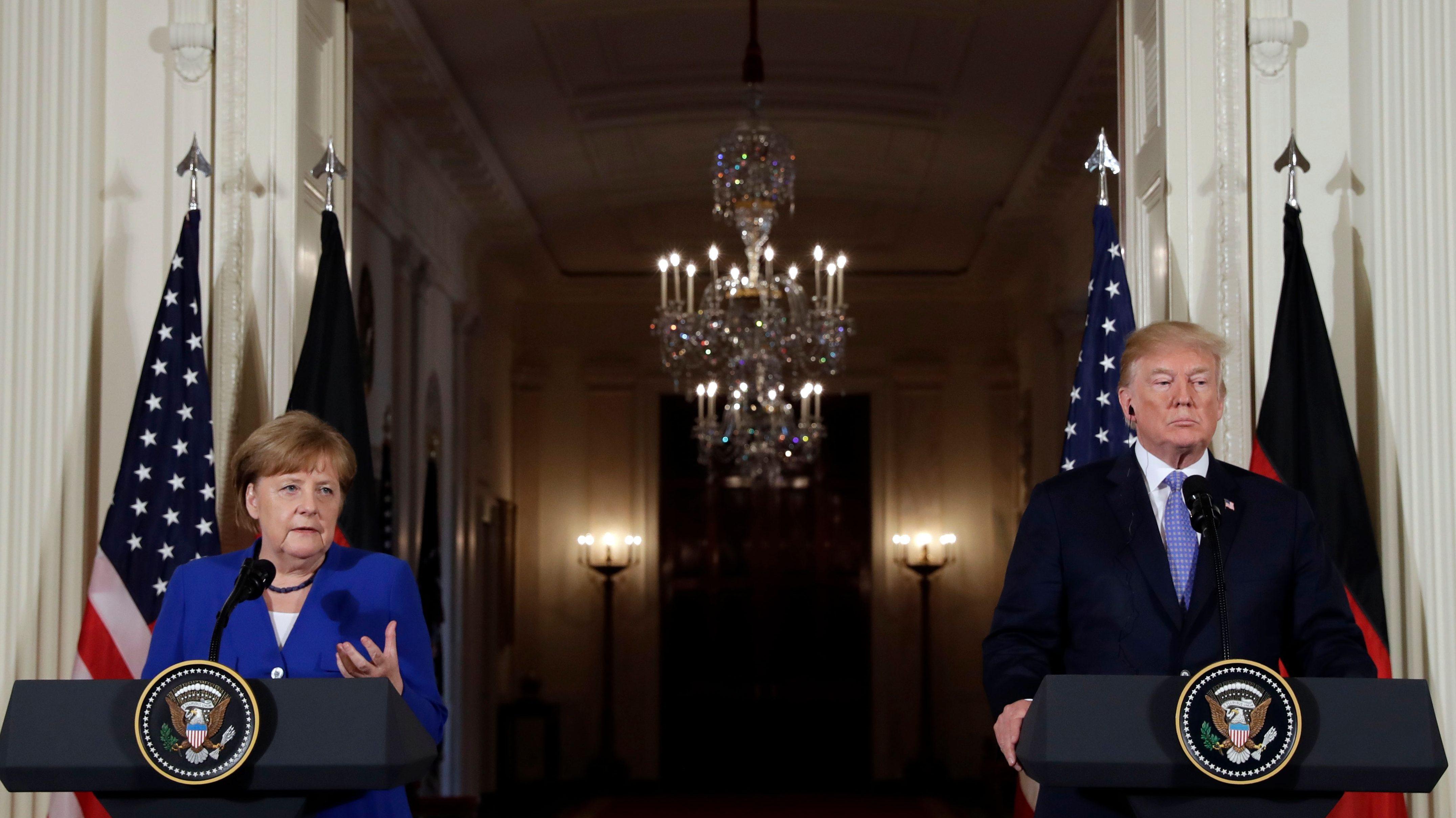 Donald Trump with Angela Merkel