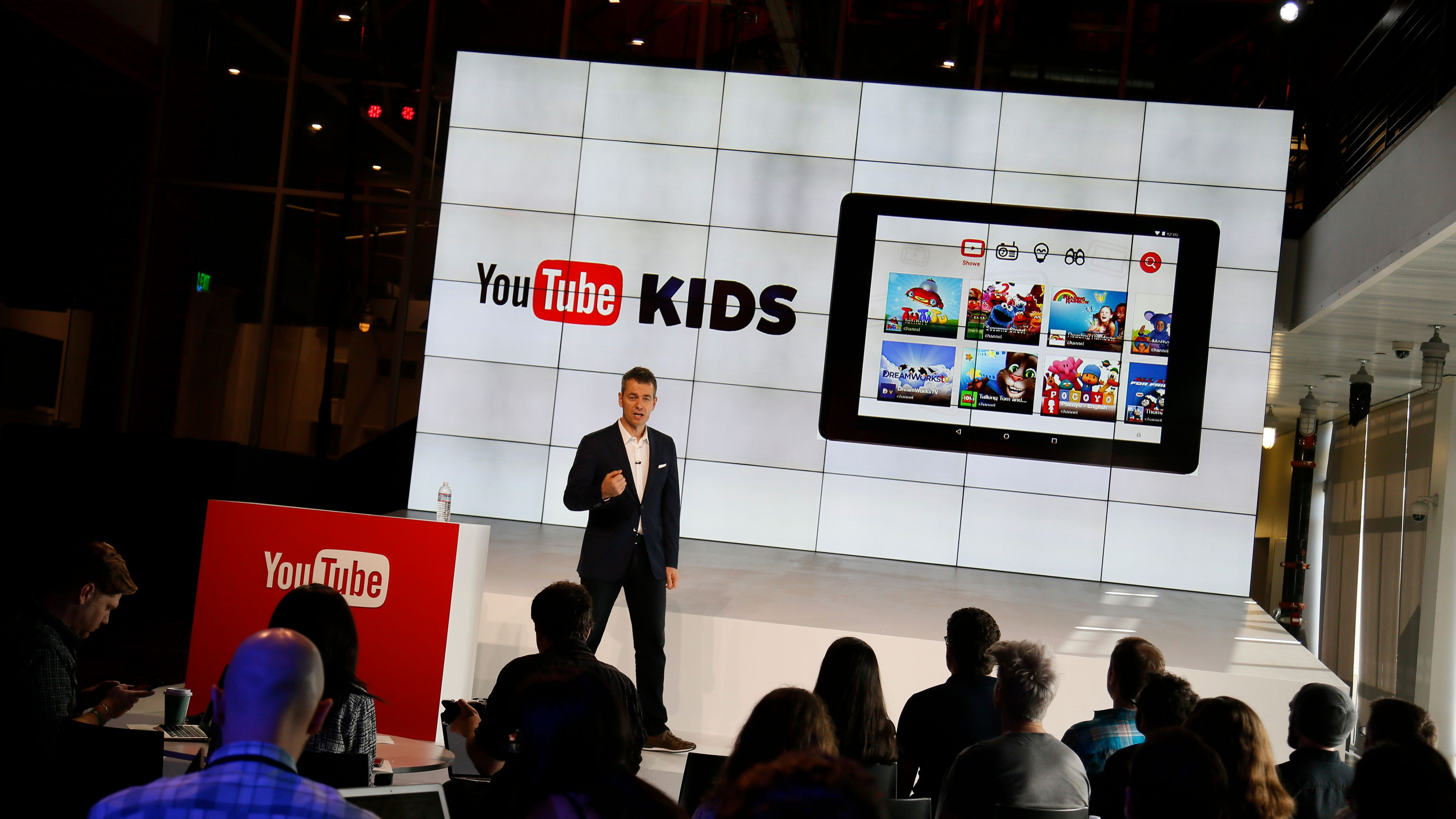 """Robert Kyncl, YouTube Chief Business Officer, speaks about YouTube Kids as YouTube unveils """"YouTube Red,"""" a new subscription service, at YouTube Space LA offices Wednesday, Oct. 21, 2015, in Los Angeles. YouTube Red combines ad-free videos, new original series and movies from top YouTubers like PewDiePie, and on-demand unlimited streaming music for $10 a month. (AP Photo/Danny Moloshok)"""