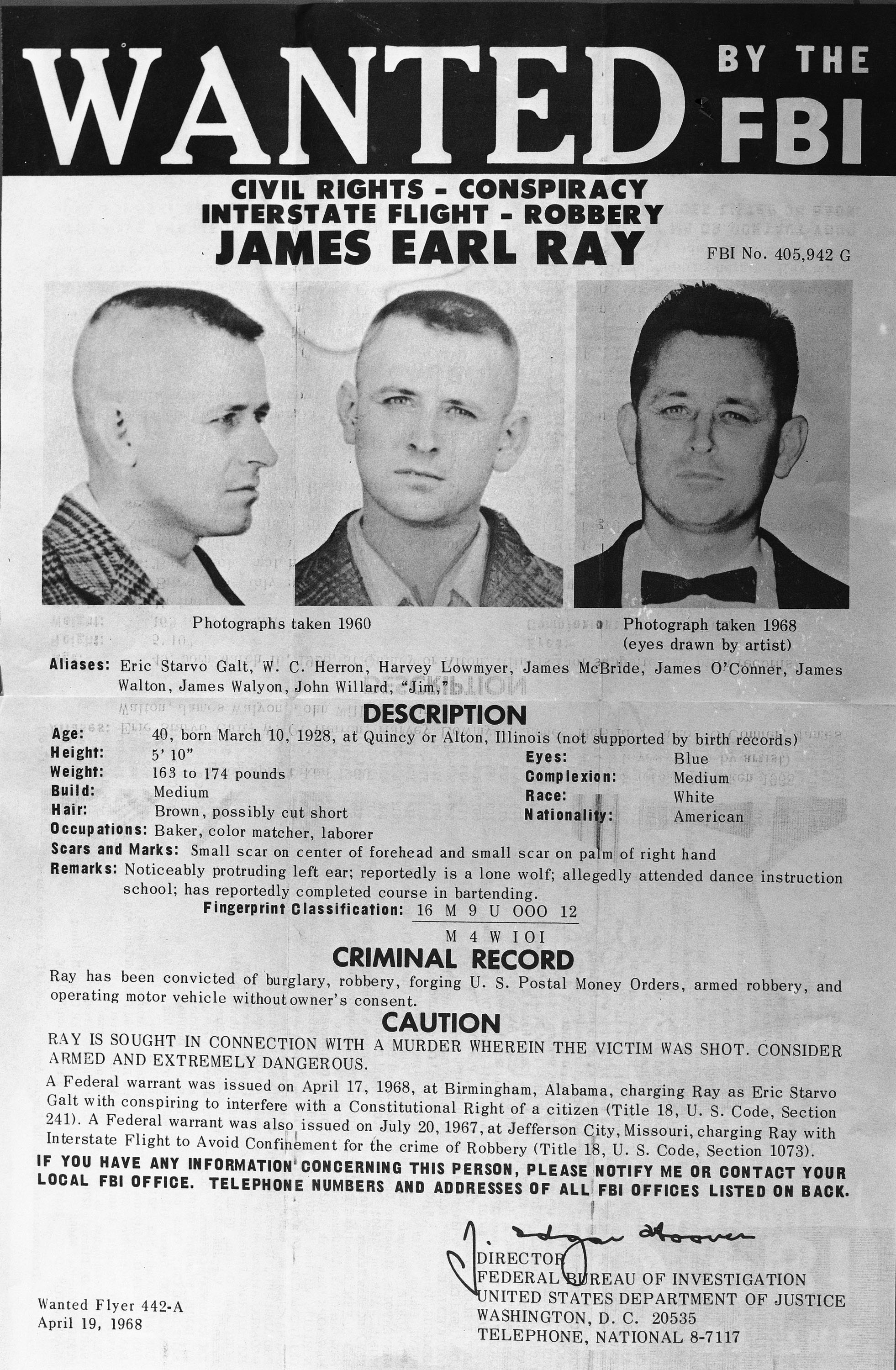 James Earl Ray is shown on an FBI poster, April 20, 1968.  Ray is being sought in connection with the sniper slaying of civil rights leader Dr. Martin Luther King, Jr.  (AP Photo)