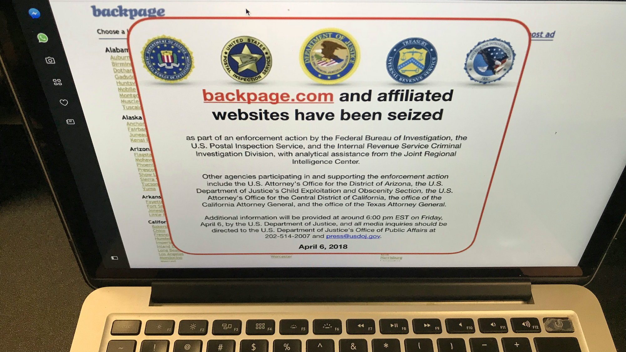 Homepage of Backpage.com after seizure by US authorities