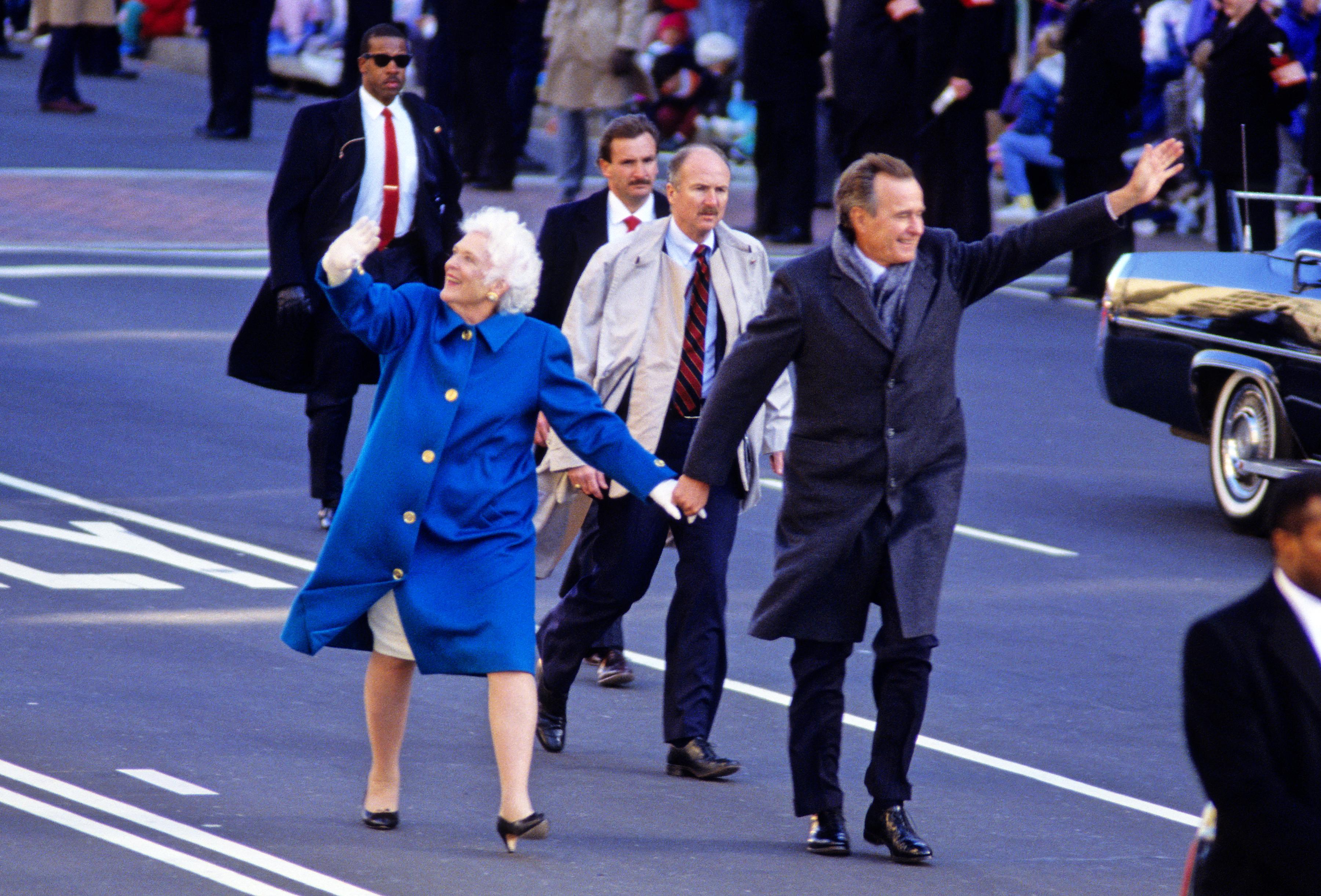 Barbara Bush on inauguration day 1989