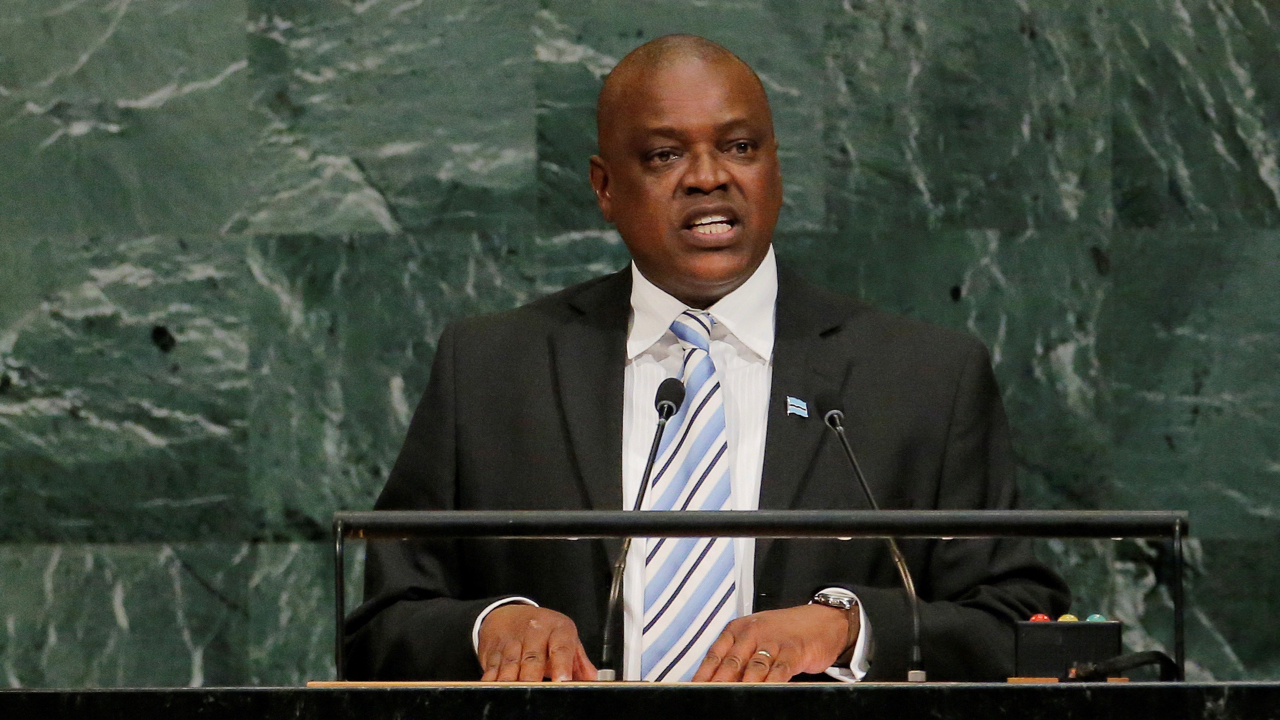 FILE PHOTO: The then vice president of the Republic of Botswana, Mokgweetsi Eric Keabetswe Masisi, addresses the United Nations General Assembly at U.N. headquarters in New York, Sept. 21, 2017. REUTERS/Lucas Jackson/File Photo - RC18E2DA9300