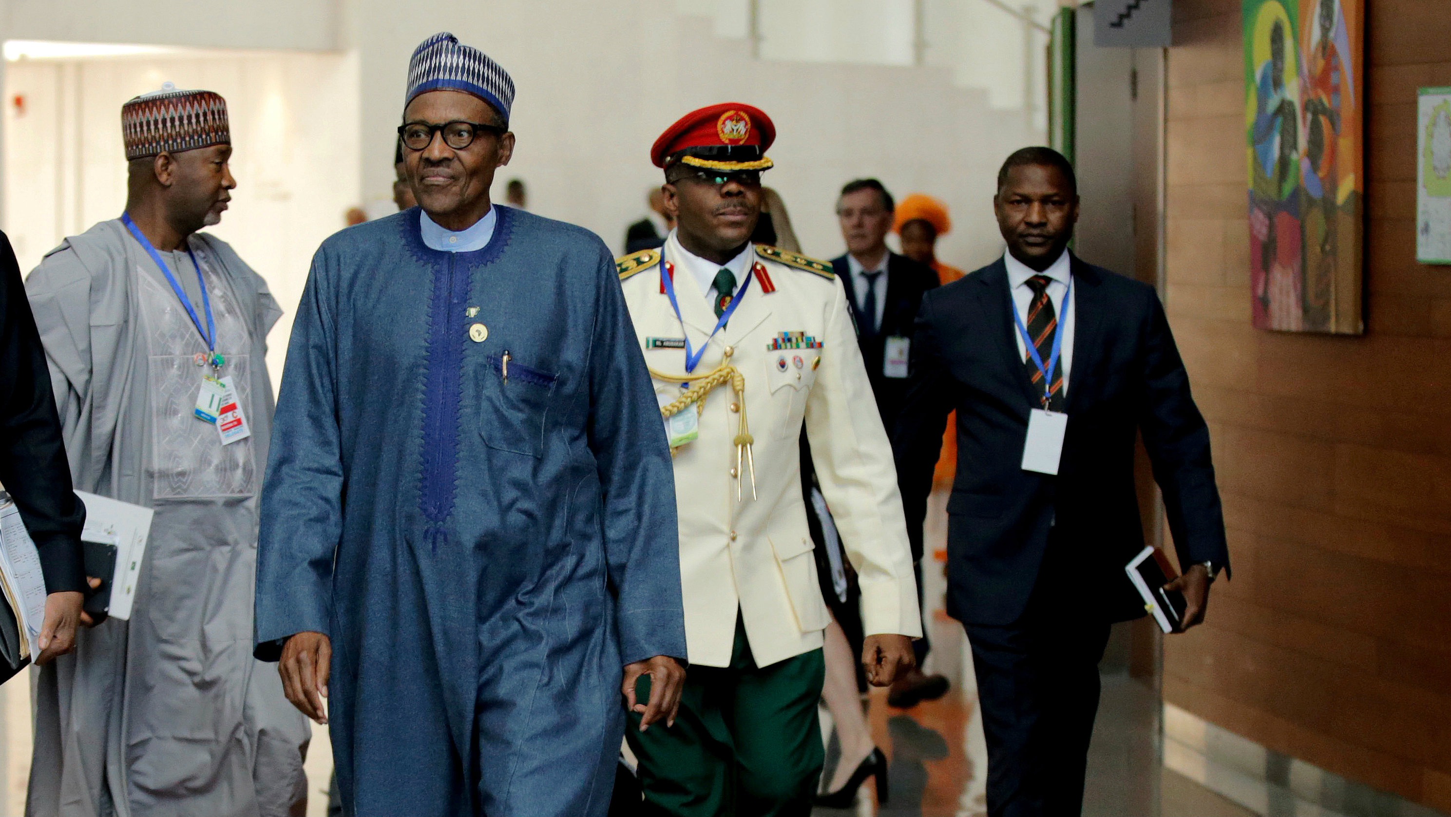 Nigeria's President Muhammadu Buhari arrives for the 30th Ordinary Session of the Assembly of the Heads of State and the Government of the African Union in Addis Ababa, Ethiopia January 28, 2018.