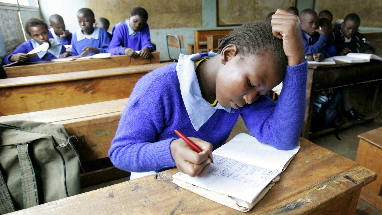 Children study at Olympic Primary school in Nairobi's Kibera slum