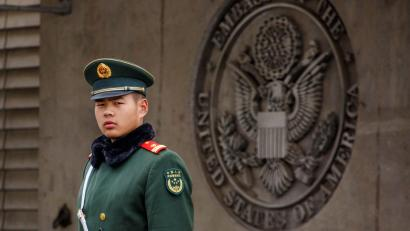 guards the entrance to the U.S. embassy in Beijing