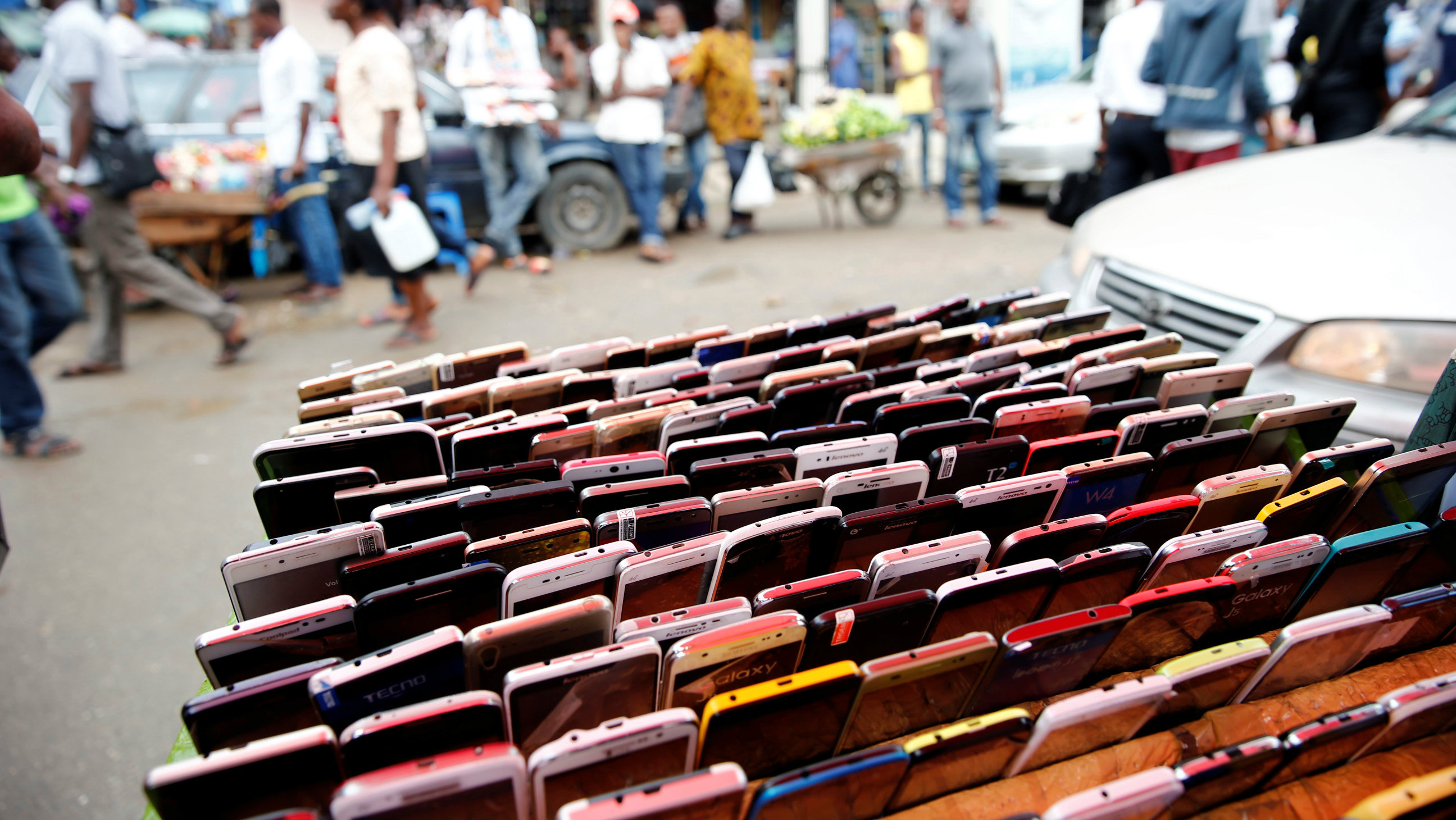 Smartphones are displayed for sale at the 'Computer Village' in Ikeja district in Nigeria's commercial capital Lagos, Nigeria May 31, 2017.