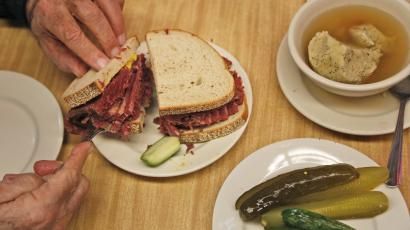 Pastrami pickle sandwich