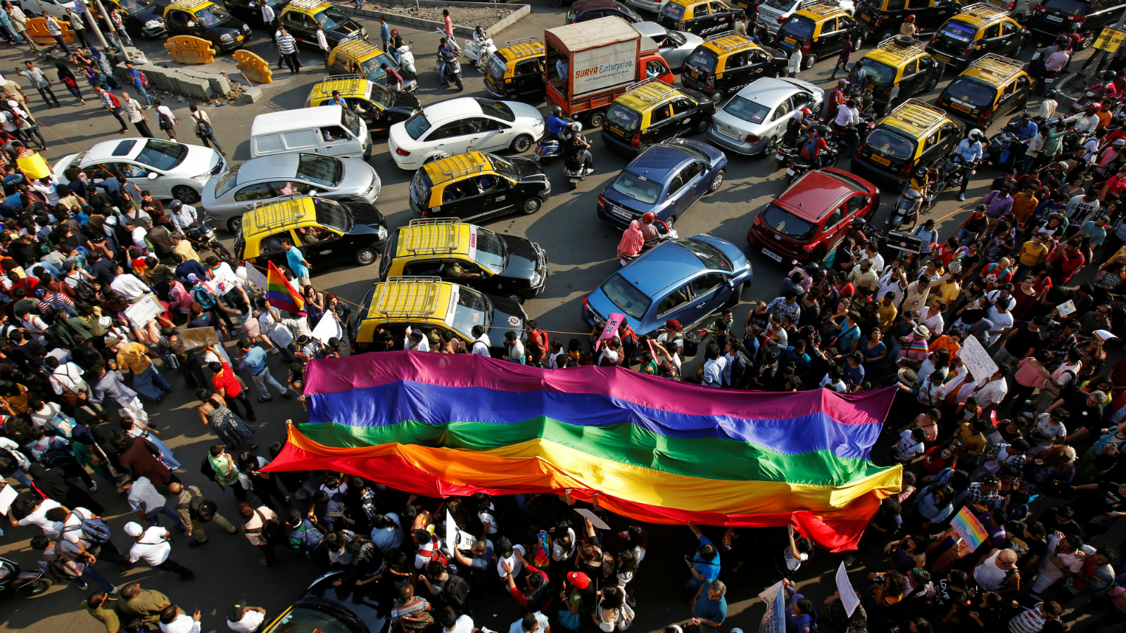 Participants walk during the Queer Azaadi Pride March in Mumbai, India February 3, 2018.