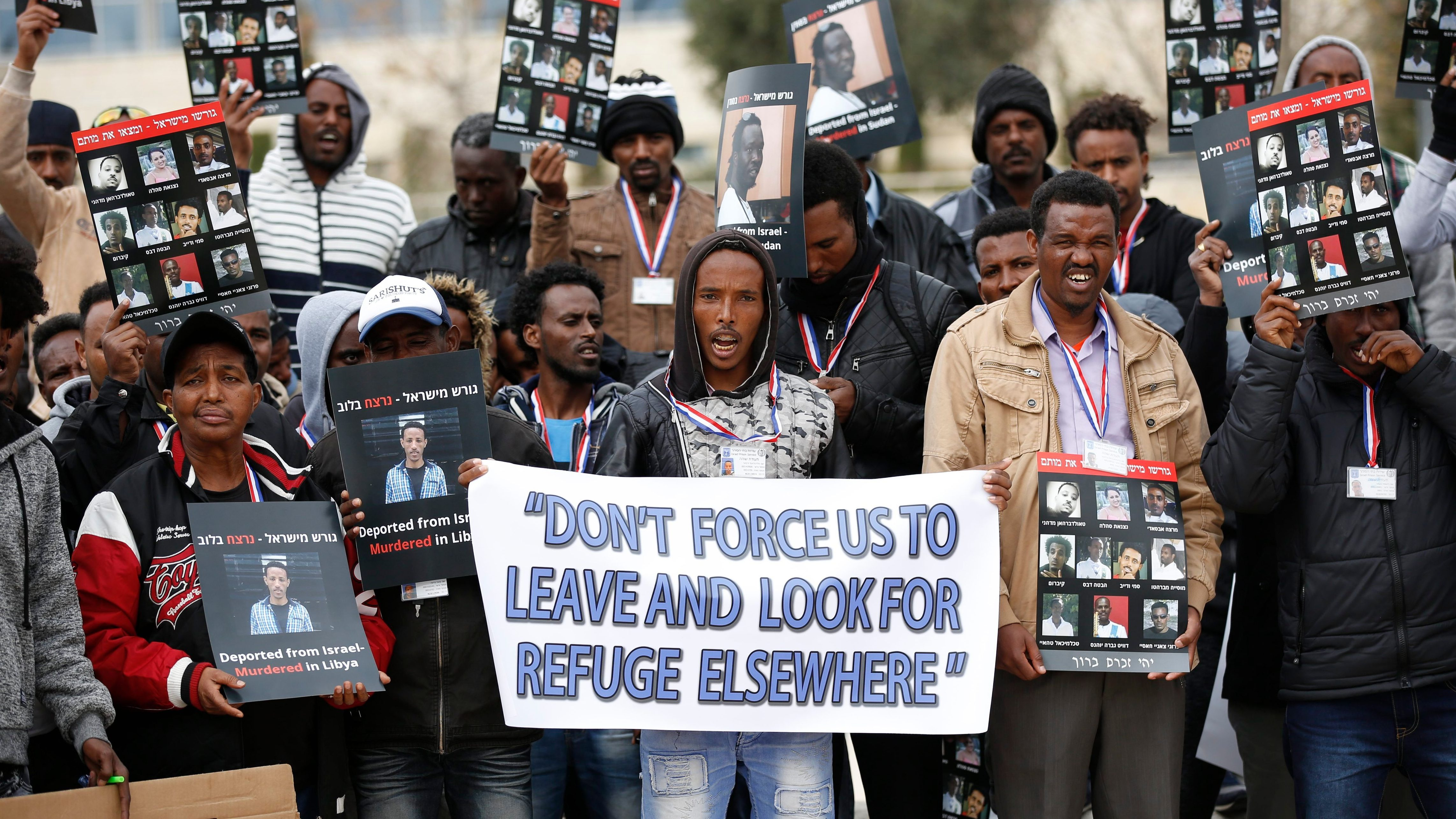 African asylum seekers protest in front of the Israeli Supreme Court, in Jerusalem, Israel, 26 January 2017. Hundreds of African migrants from Eritrea held a protest outside the Israeli Supreme Court calling not to deport them back to their countries as  they seek refugee status.