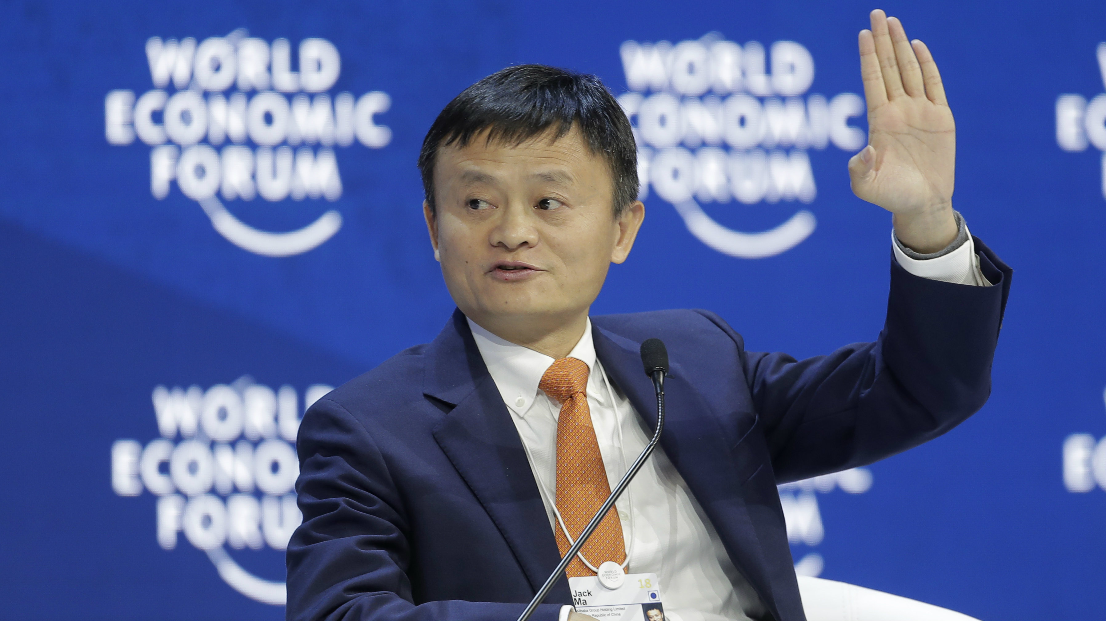 Alibaba founder Jack Ma speaks during the annual meeting of the World Economic Forum in Davos, Switzerland