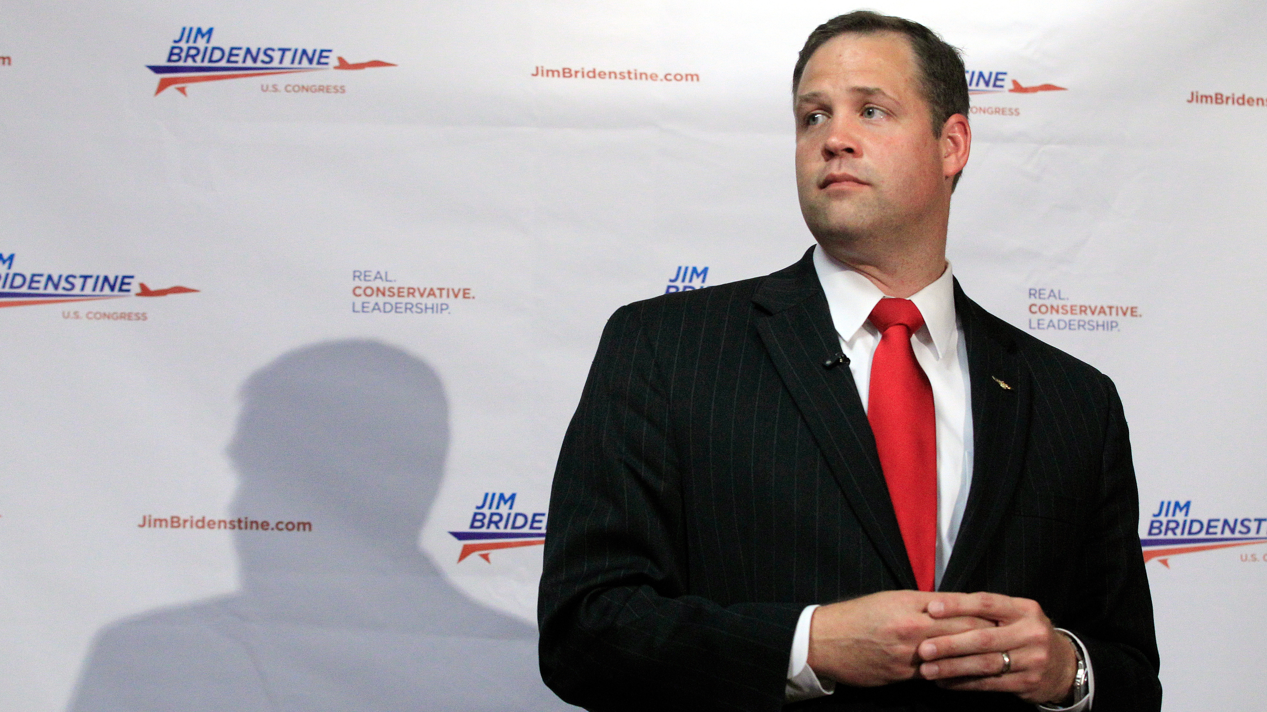 Jim Bridenstine, candidate for U.S. House 1st District of Oklahoma in the Republican primary, speaks during a news conference in Tulsa, Okla., Wednesday, June 20, 2012.