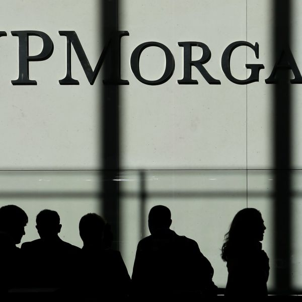 In this Monday, Oct. 21, 2013, file photo, the JPMorgan Chase logo is displayed at their headquarters in New York. JPMorgan Chase reports financial results Thursday, July 14, 2016.