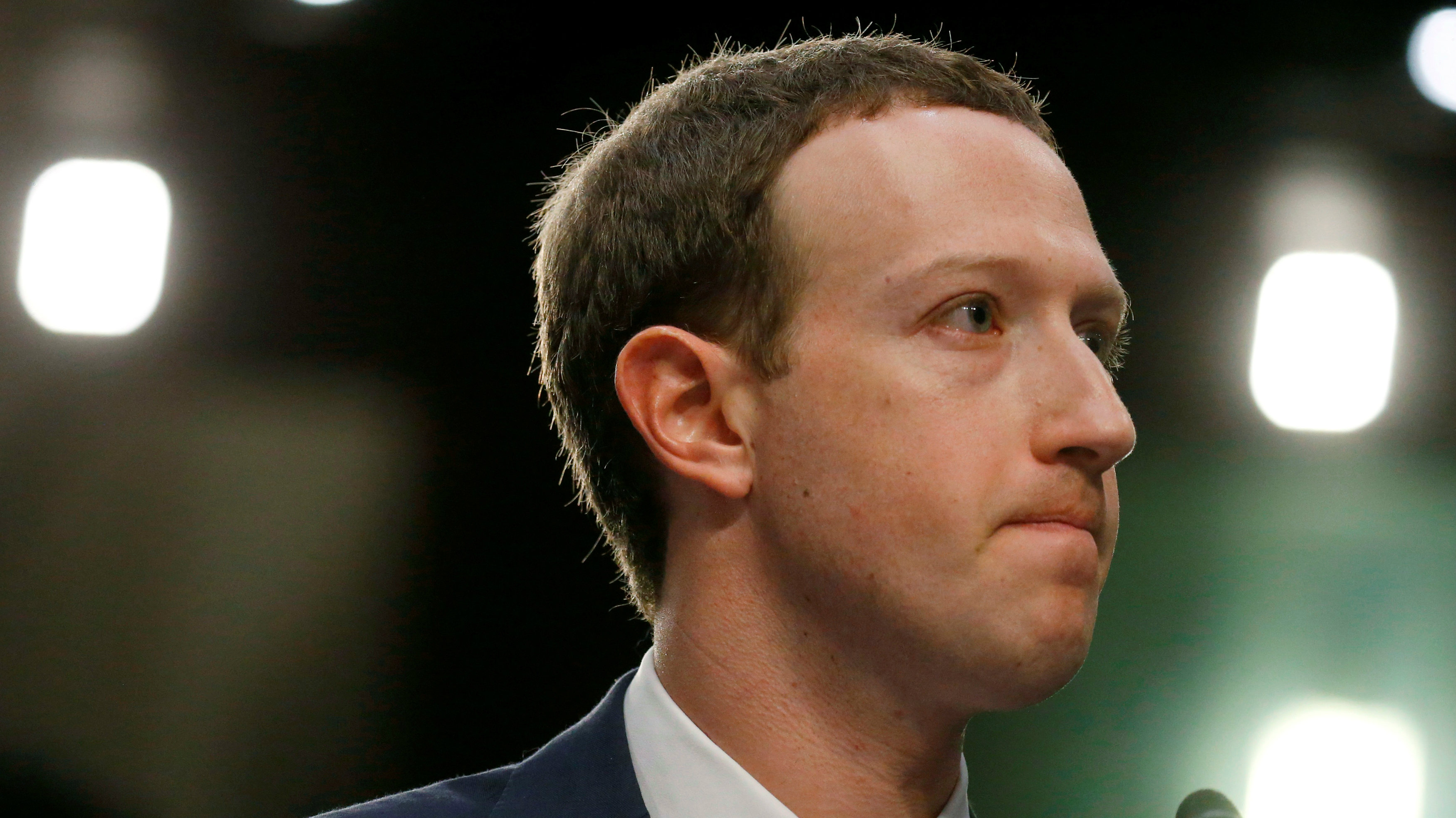Facebook CEO Mark Zuckerberg listens while testifying before a joint Senate Judiciary and Commerce Committees hearing regarding the company's use and protection of user data, on Capitol Hill in Washington, U.S