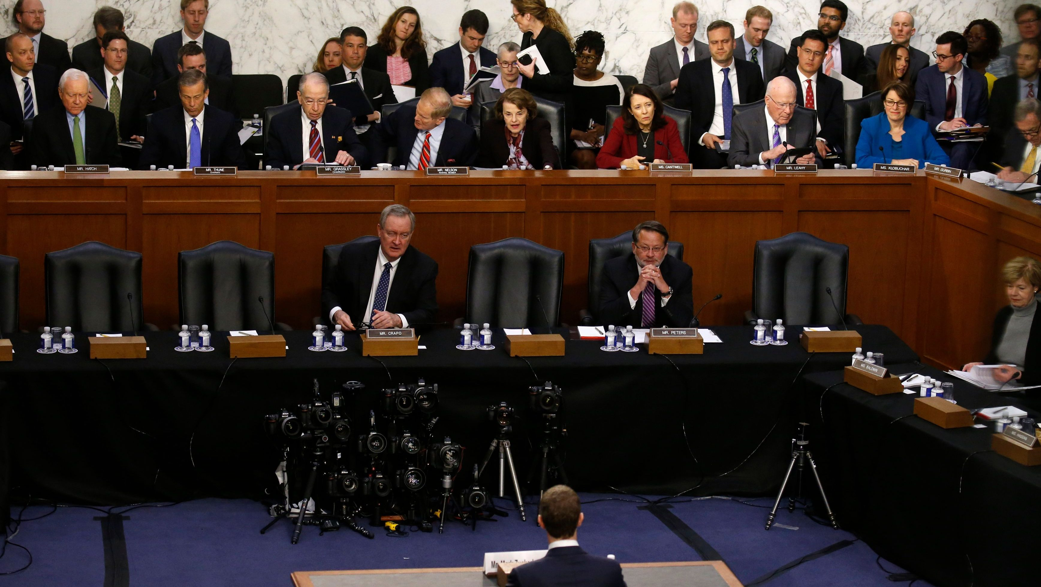 Facebook CEO Mark Zuckerberg testifies before a Senate Judiciary and Commerce Committees joint hearing regarding the company's use and protection of user data, on Capitol Hill in Washington, U.S., April 10, 2018.