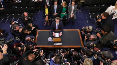 Facebook CEO Mark Zuckerberg gets ready to testify before a joint hearing of the US Senate Commerce and Judiciary committees
