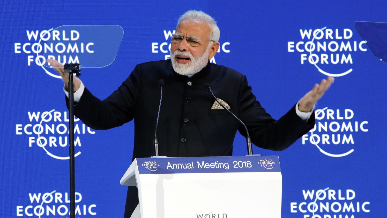India's Prime Minister Narendra Modi gestures as he speaks during the Opening Plenary during the World Economic Forum (WEF) annual meeting in Davos, Switzerland, January 23, 2018