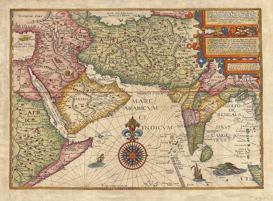 Jan Huyghen Van Linschoten's map of northern India.