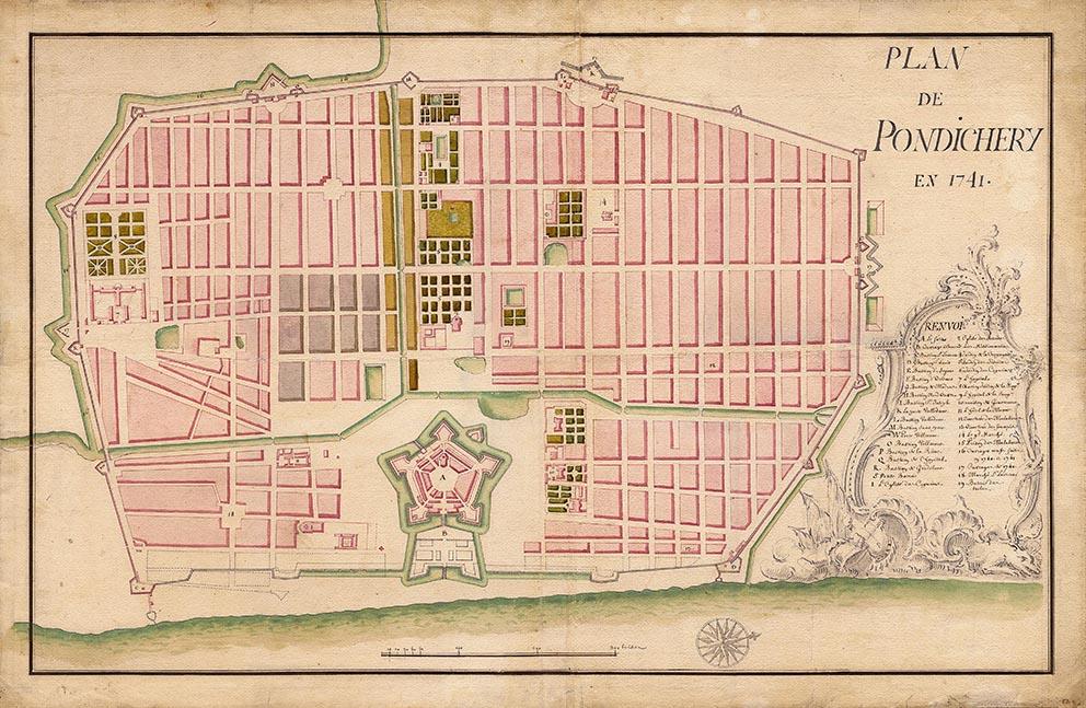 The 1741 plan of Puducherry.