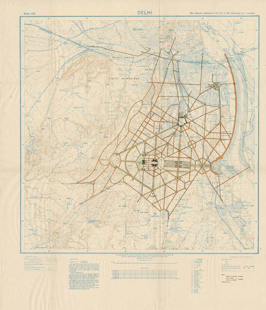 Lutyens's master plan of Delhi, 1912. Photo credit: Prashant Lahoti/Kalakriti Archives