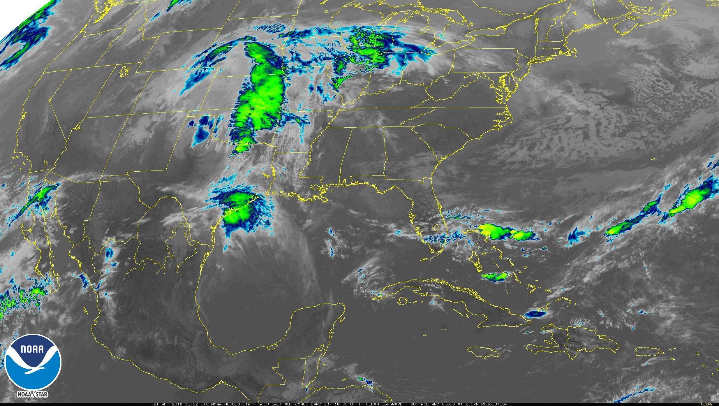 Satellite image of the US