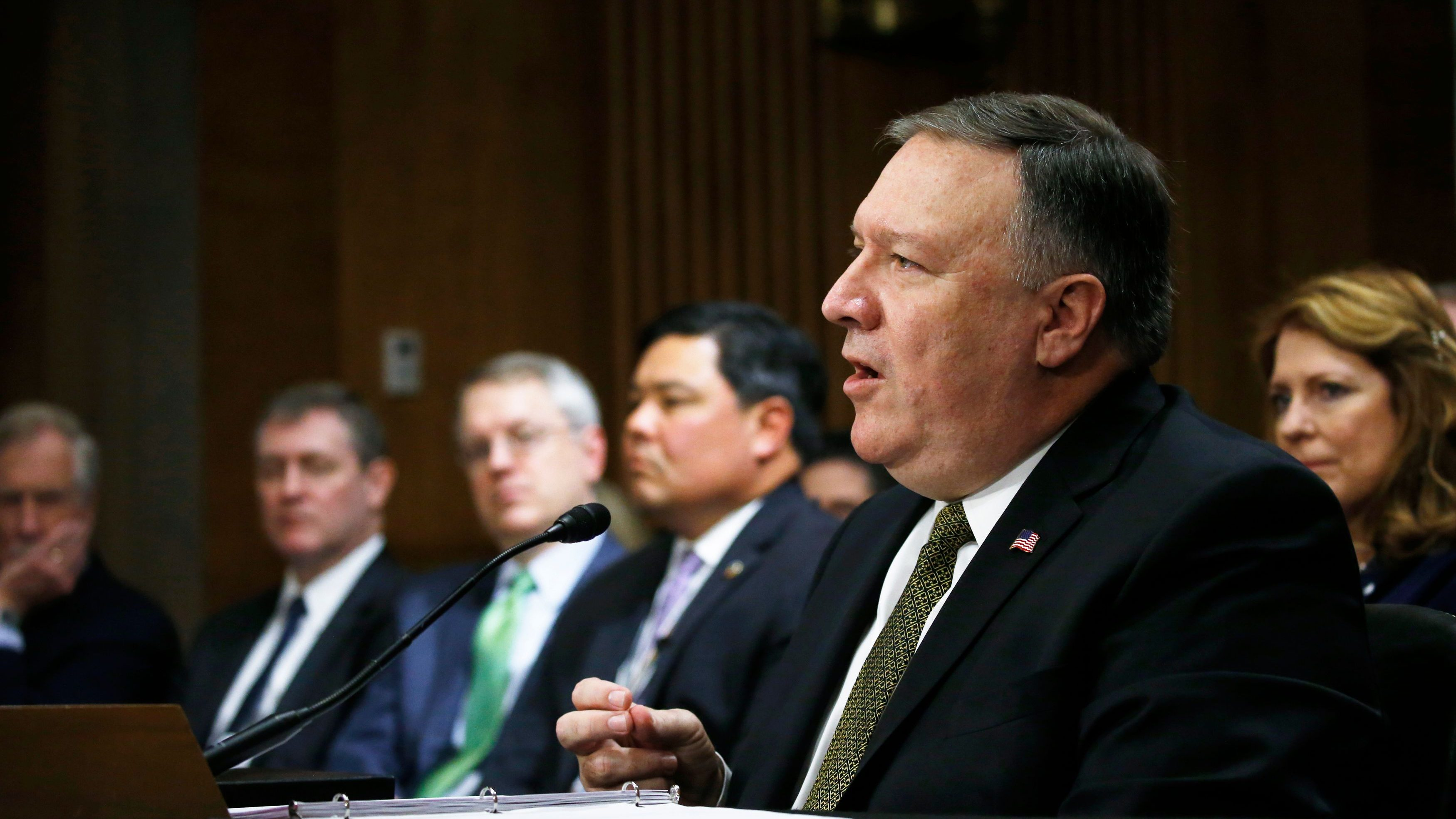 CIA Director Mike Pompeo testifies before a Senate Foreign Relations Committee confirmation hearing on Pompeo's nomination to be secretary of state on Capitol Hill in Washington, U.S., April 12, 2018. REUTERS/Leah Millis - HP1EE4C18LQAK