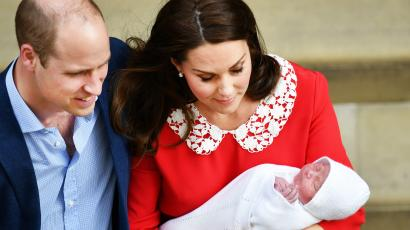 Prince William and Catherine with His Royal Highness Prince Louis of Cambridge