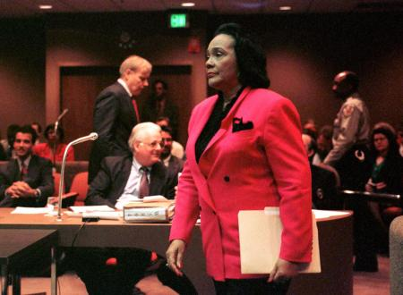 Coretta Scott King walks towards the witness stand to testify in a Memphis courtroom February 20 during a hearing that would reopen the James Earl Ray conviction for assasinating Martin Luther King Jr. in 1968. Mrs King and her son Dexter took the stand to ask the judge to allow the case to be reopened so that the family could get a sense of closure.