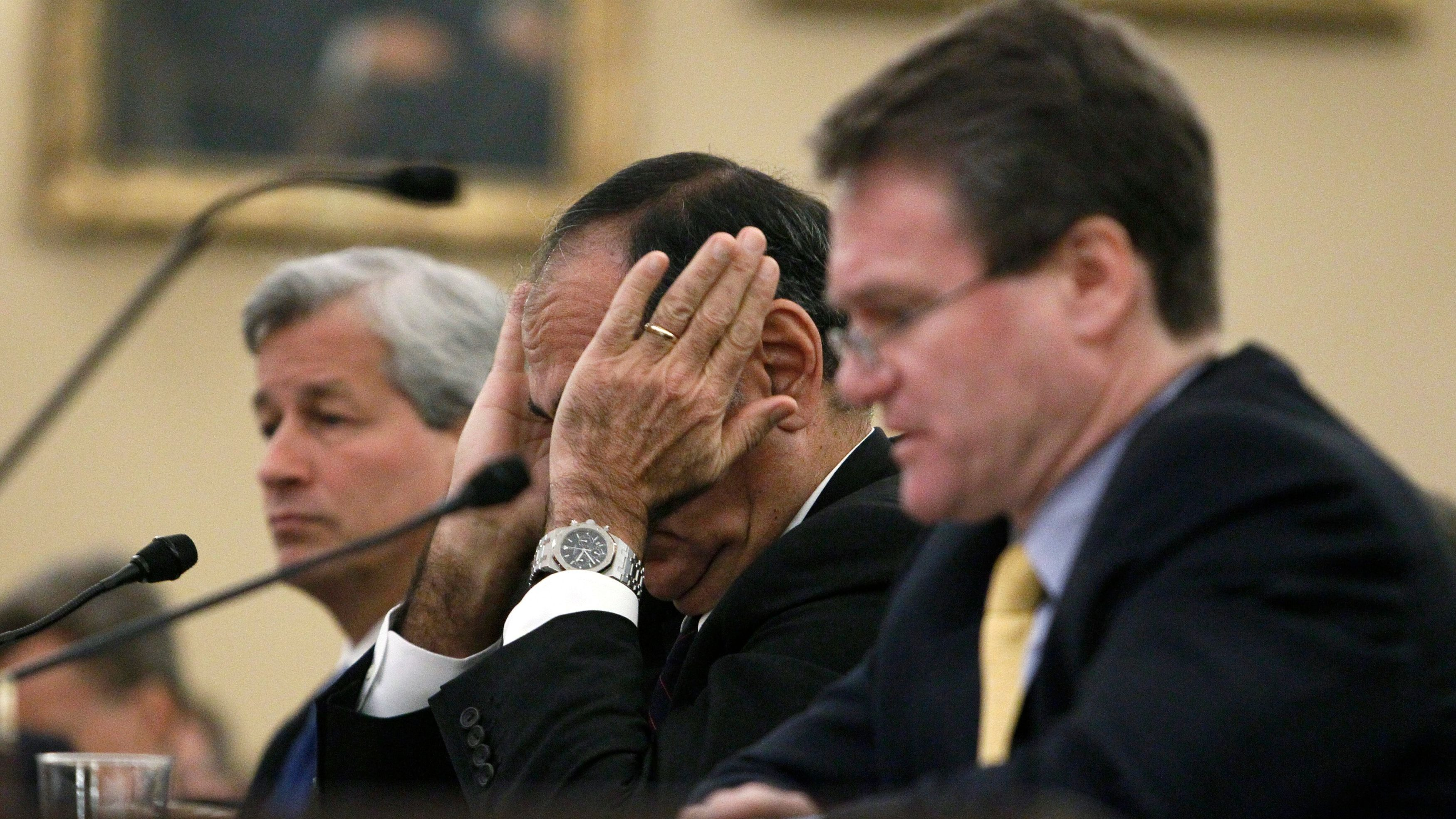 Banking executives Dimon, Mack and Moynihan testify before the Financial Crisis Inquiry Commission in Washington