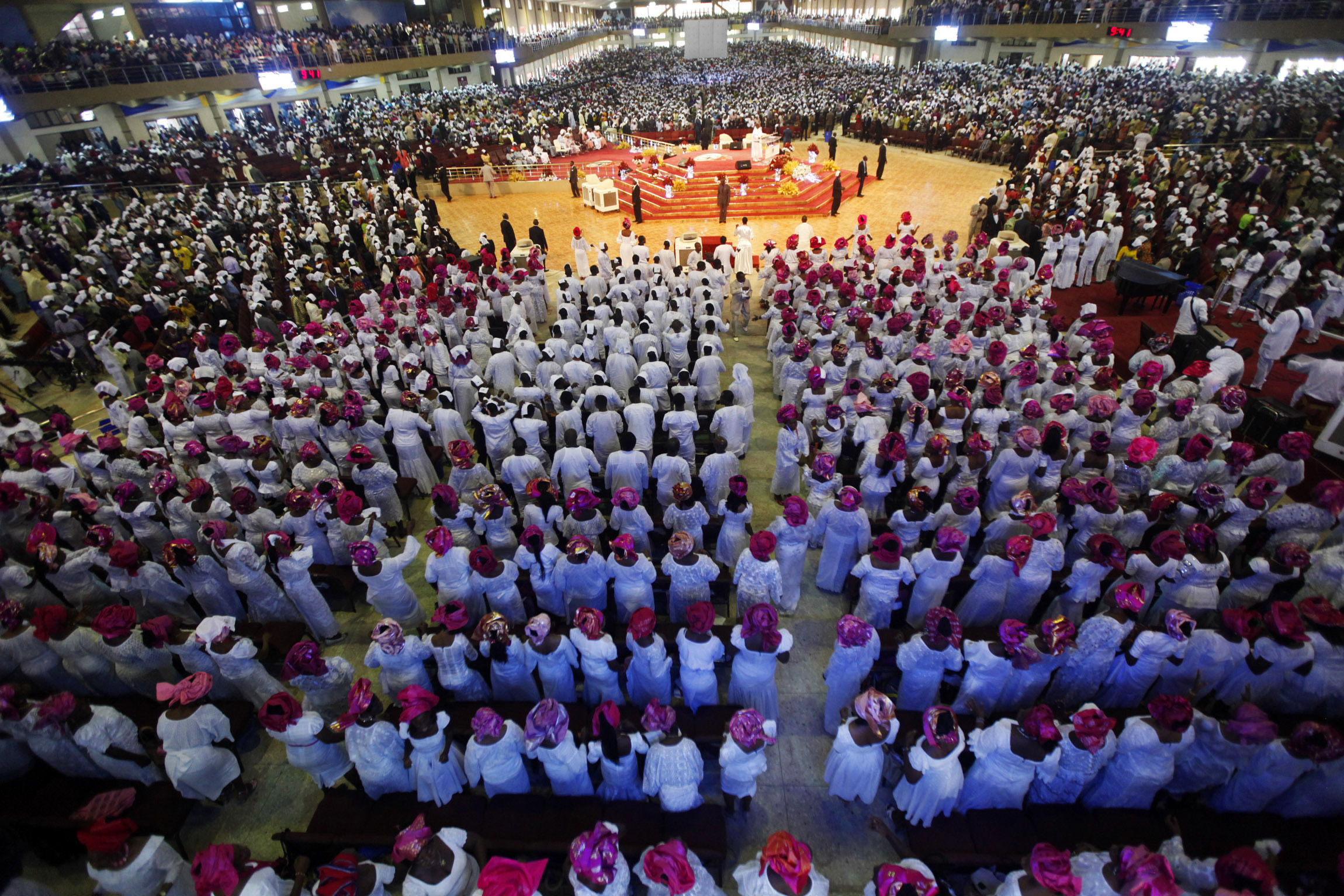 Worshippers attend a church service at Living Faith Church, also known as Winners' Chapel, in Ota